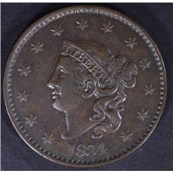 "1834 LARGE CENT LARGE ""8"" SMALL STARS, AU"