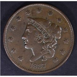1837 LARGE CENT, XF+