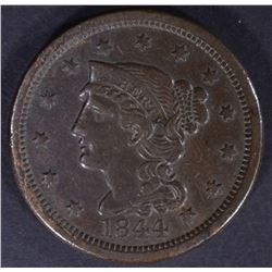 1844 LARGE CENT, XF+