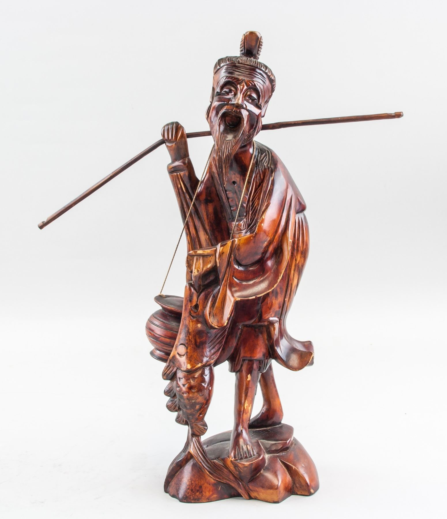 17361f35b39 Image 1   Chinese Wood Carved Old Fishing Man Statue ...