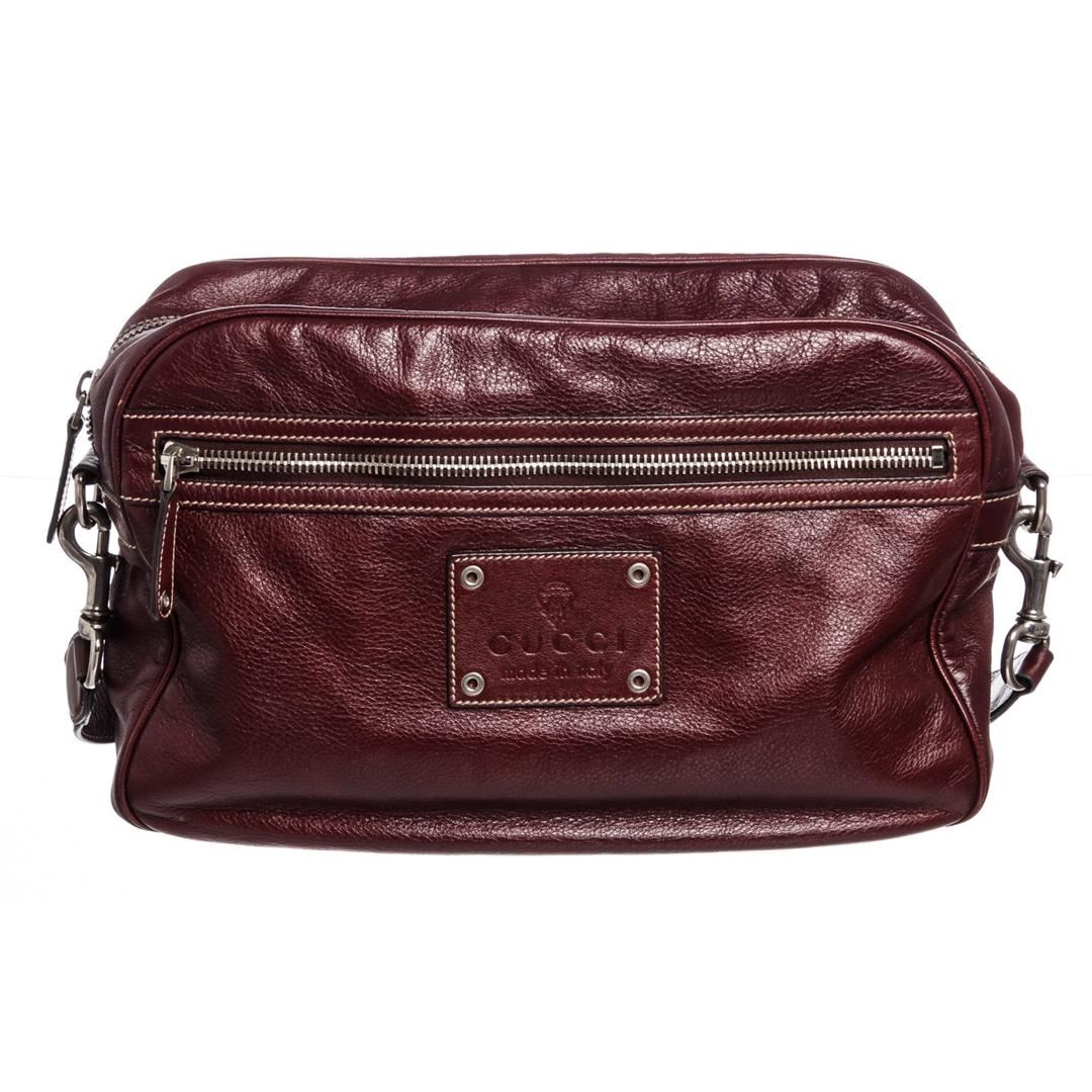 59c5499870a3 Image 1   Gucci Vintage Brown Leather Crossbody Shoulder Bag ...