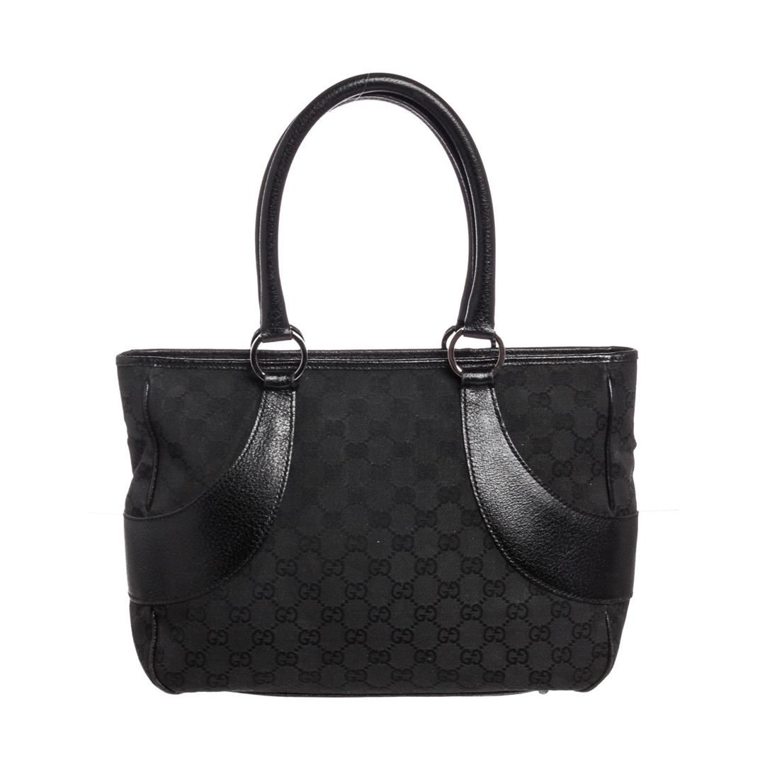 cd8becb26d9 Image 1   Gucci Black GG Canvas Leather Tote Bag ...