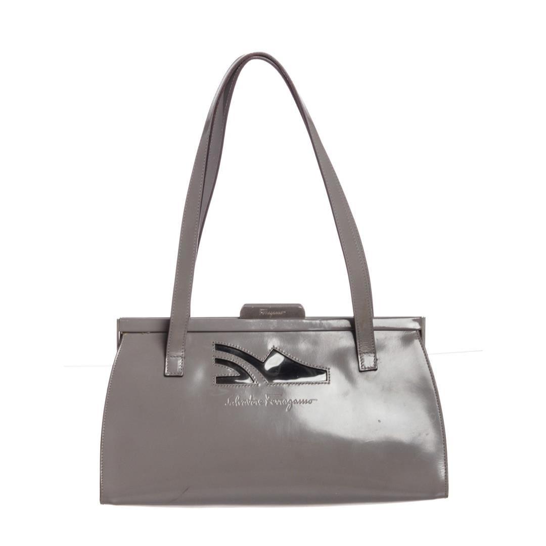 a1b33212ac Image 1   Salvatore Ferragamo Gray Patent Leather Shoulder Bag ...