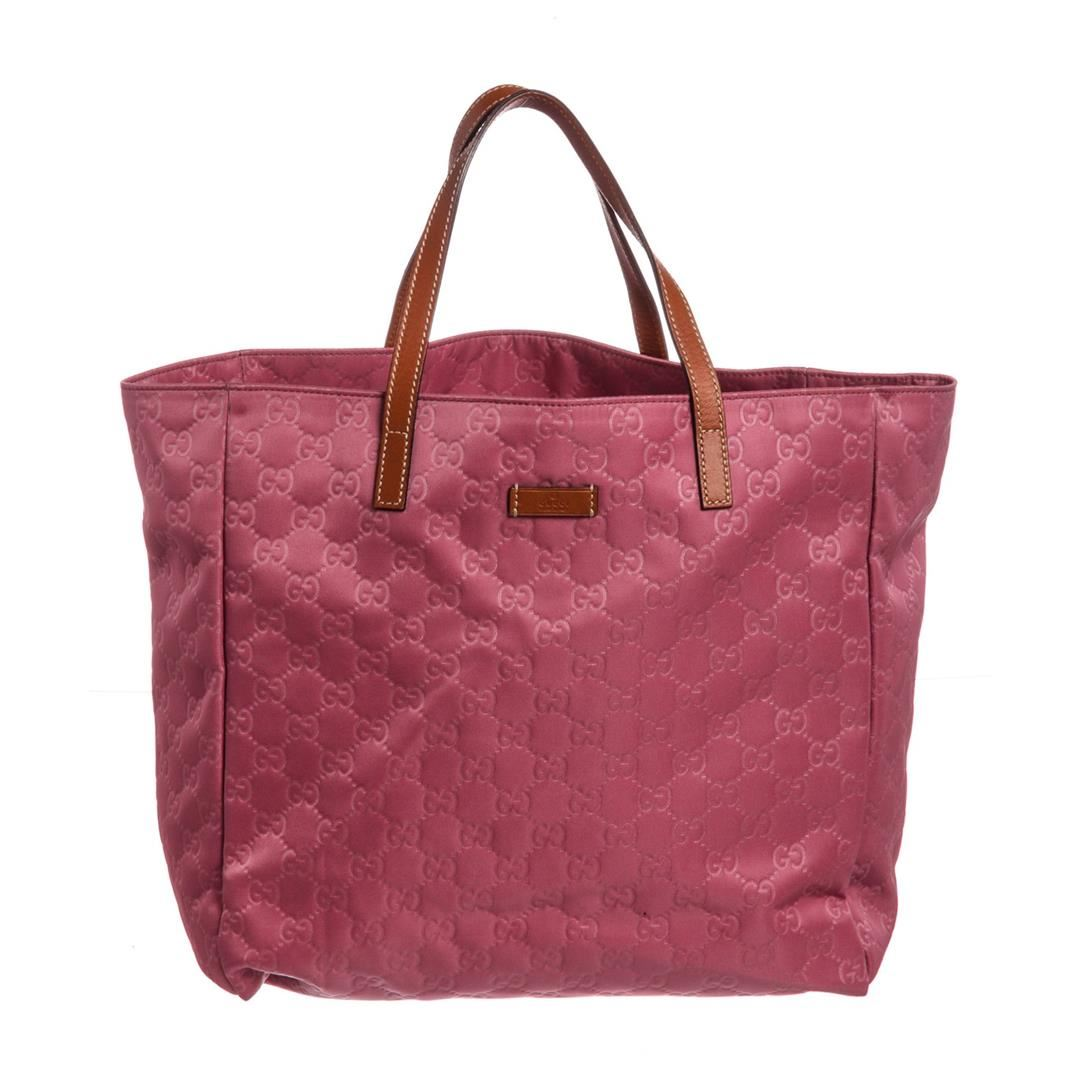 bcc5c05ab1fe Image 1 : Gucci Pink Nylon Leather GG Tote Bag ...
