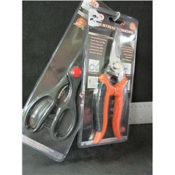 2 Pairs of New Scissors / stainless Industrial / & magic kitchen shears