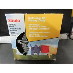 "New Strata Clothsline Kit / all rust proof  / 150ft line & 6.5"" pulley's"