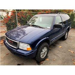 2005 GMC JIMMY, 2DRSW, BLUE, 4.3L V6, GAS, AUTOMATIC, VIN#1GKCT18X65K115777, 88,346KMS,