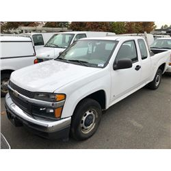 2008 CHEVROLET COLORADO, PICKUP, WHITE, GAS, AUTOMATIC, VIN#1GCCS299088227920, 61,669KMS, RD,AC, NO