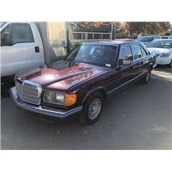 1985 MERCEDES 500, RED, 4DRSD, GAS, AUTOMATIC, VIN#WDBCA37D5FA135920, 165,609KMS,