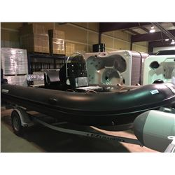 BLACK AND GREY BAKERVIEW MODEL ALU-500HDL 10 PERSON SOLID BOTTOM INFLATABLE BOAT