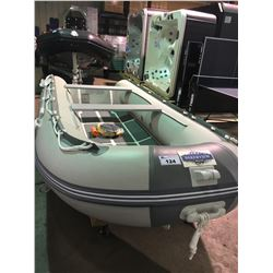 BAKERVIEW GREY AND WHITE MODEL ALU-360DL 6 PERSON SOLID HULL INFLATABLE BOAT