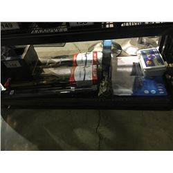 SHELF LOT WITH 2 EAGLE CLAW 6.6 MEDIUM ACTION COMBO RODS , MICROLITE PACK ROD, FIRST AID KIT,