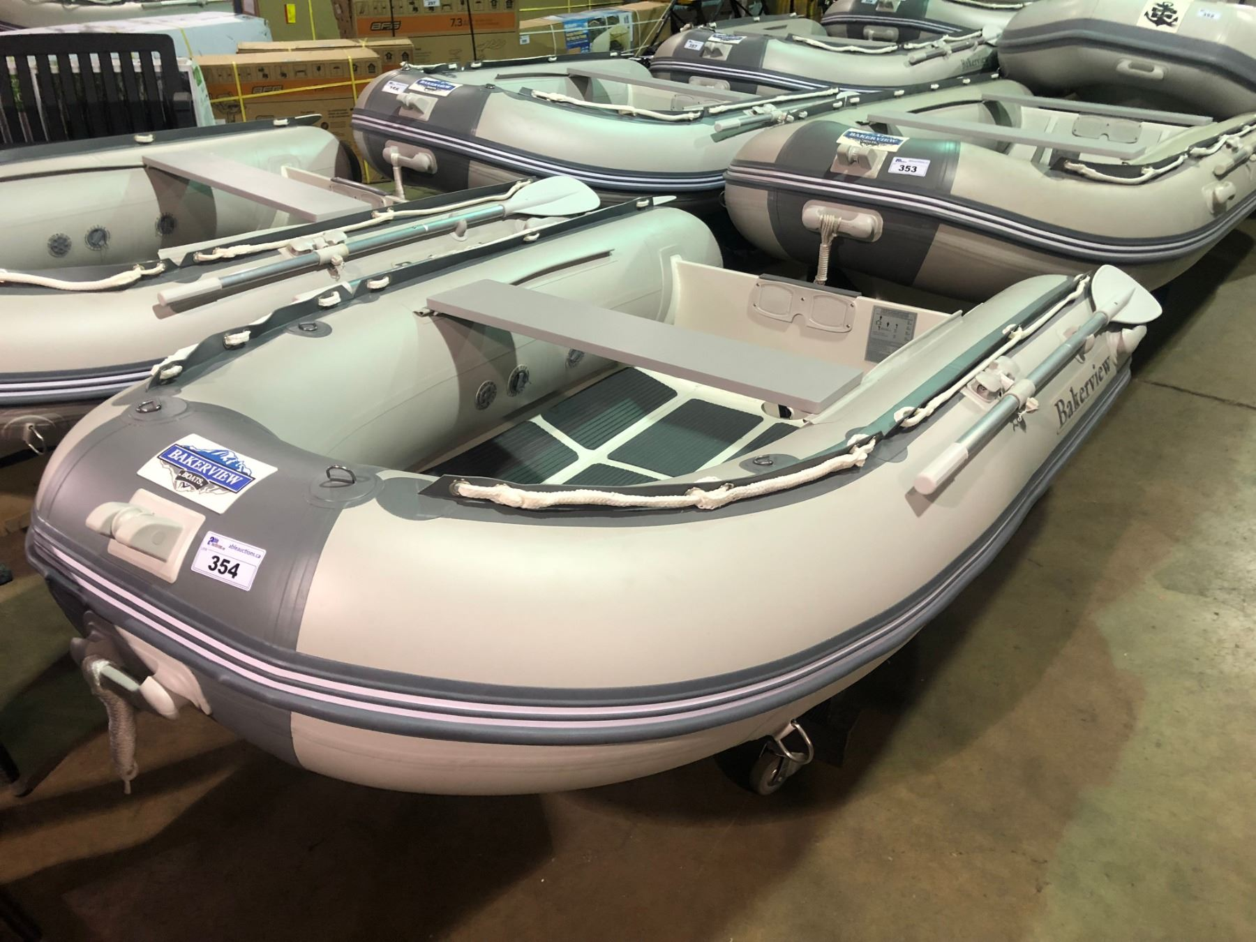 bakerview grey and white alu240d 4 person hard bottom inflatable boat