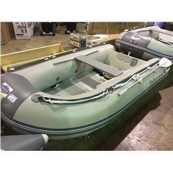 BAKERVIEW  GREY AND WHITE ZYD-290PL 5 PERSON WOODEN FLOOR SOFT BOTTOM INFLATABLE BOAT (CART NOT
