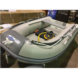 BAKERVIEW  GREY AND WHITE ZYD-270 4\ SOFT BOTTOM INFLATABLE BOAT (CART NOT INCLUDED)