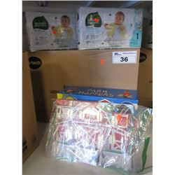 VTECH SIT-TO-STAND ULTIMATE ALPHABET TRAIN, FARM HOPPERS, FARM TOY, SEVENTH GENERATION DIAPERS