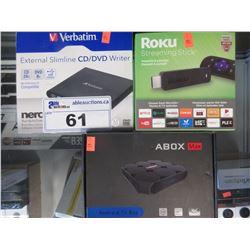 VERBATIM EXTERNAL CD/DVD WRITE COMBO, ROKU STREAMING STICK, ABOX ANDROID TV BOX