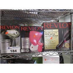 REVLON TRAVEL STYLER, REVLON FACIAL SAUNA, REVLON SALON HAIR DRYER