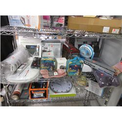 SHELF LOT OF ASSORTED BEAUTY & HOUSEHOLD ITEMS