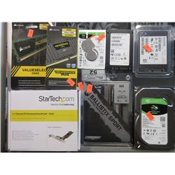SMALL BOX OF COMPUTER COMPONENTS & ELECTRONICS