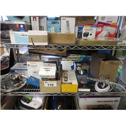 SHELF LOT OF ASSORTED ELECTRONICS & HOUSEHOLD ITEMS