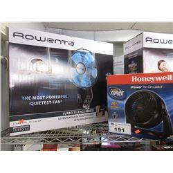 "ROWENTA 16"" STAND FAN & HONEYWELL POWER AIR CIRCULATOR"