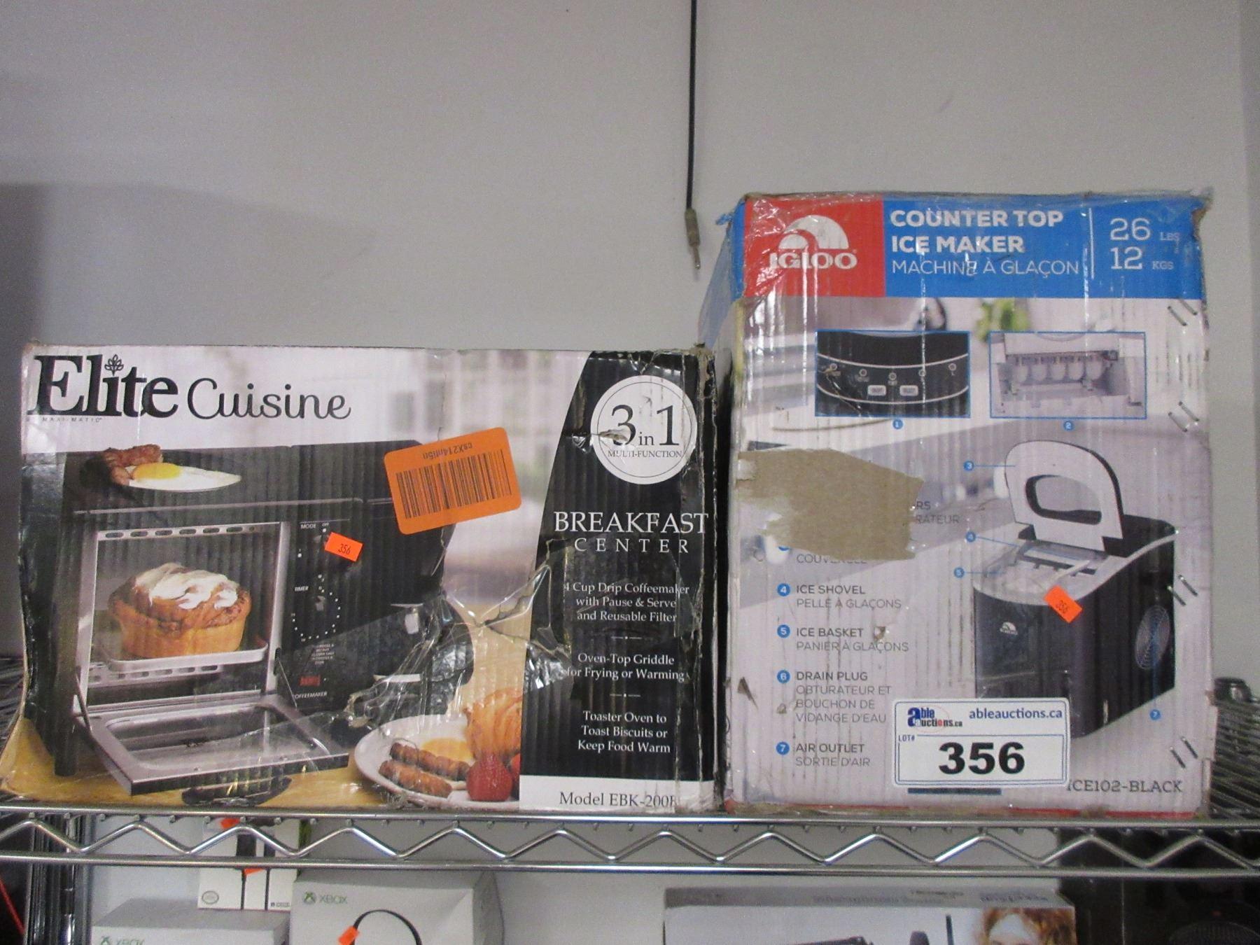 Elite Cuisine Breakfast Center Igloo Counter Top Portable Ice Maker