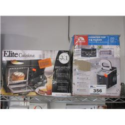 ELITE CUISINE BREAKFAST CENTER & IGLOO COUNTER TOP PORTABLE ICE MAKER