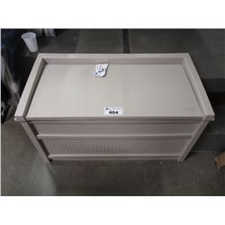 PLASTIC GARDEN STORAGE BENCH WITH CONTENTS
