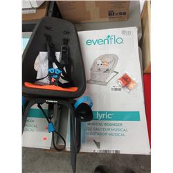 EVENFLO MUSICAL BOUNCER & THULE CHILD BIKE SEAT