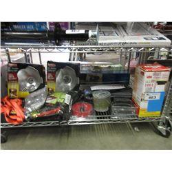 FOOD GARBURATOR, STRAPS, JUMP KIT, CLAMP LIGHT FIXTURES, HARDWARE & MISC