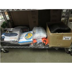 SHELF LOT OF ASSORTED OUTDOOR & POOL SUPPLY