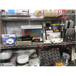 SHELF LOT OF ASSORTED KITCHEN ITEMS