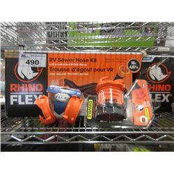 RHINO FLEX RV SEWER HOSE KIT, RHINO FLEX 45 DEGREE CLEAR FITTING CONNECTOR, BAYONET FITTING +