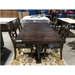CONTEMPORARY DINING TABLE WOOD & METAL WITH 4 MATCHING CHAIRS