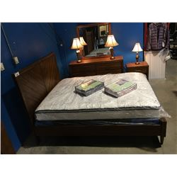 4 PCE QUEEN SIZE BEDROOM SUITE (HEADBOARD, FOOTBOARD, RAILS, 6 DRAWER DRESSER WITH MIRROR & SINGLE