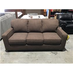 CHOCOLATE BROWN UPHOLSTERED 3 SEATER SOFA BED