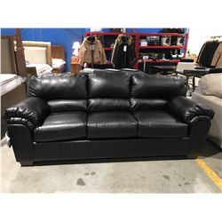 BLACK LEATHER UPHOLSTERED 3 SEATER SOFA