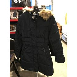 COSTA BLANCA LADIES FAUX FUR LINED COLLAR LONG WINTER JACKET NAVY BLUE SIZE S