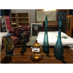 GROUP OF DECORATIVE VINTAGE GLASS & 2 ORIENTAL CLAY FIGURINES