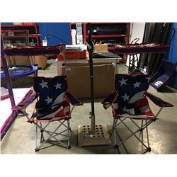 PAIR OF AMERICAN FLAG FOLDING SHADE CHAIRS
