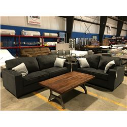 2 PCE CHARCOAL GREY UPHOLSTERED SOFA & LOVE SEAT SET WITH 4 THROW CUSHIONS