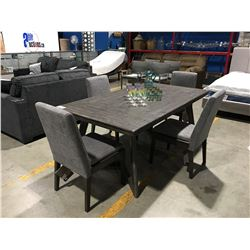 CONTEMPORARY MID CENTURY MODERN INSPIRED TWO TONE GREY DINING TABLE WITH 4 UPHOLSTERED CHAIRS