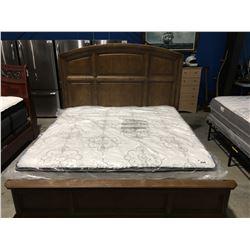 CONTEMPORARY KING SIZE OAK FINISH BED (HEADBOARD, FOOTBOARD & RAILS)