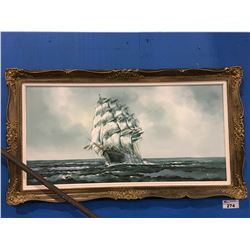 """FRAMED ORIGINAL OIL ON CANVAS EARLY SAILING SHIP PAINTING SIGNED R KING 55"""" X 31"""""""