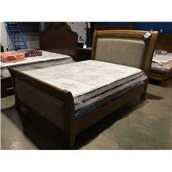 OAK FINISH  WITH LIGHT BEIGE STUDDED PADDING QUEEN SIZE BED (HEADBOARD, FOOTBOARD & RAILS)