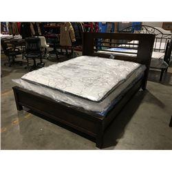 CONTEMPORARY MAHOGANY FINISH QUEEN SIZE BED (HEADBOARD, FOOTBOARD & RAILS)