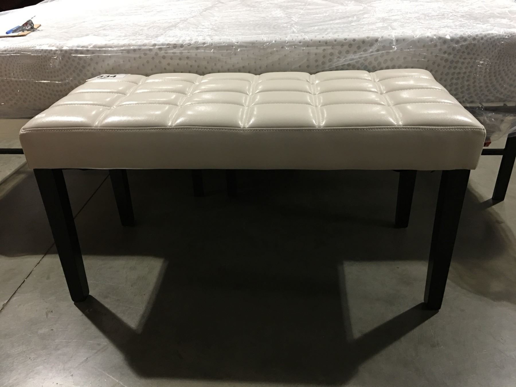Fine White Leather Upholstered Bench Seat Small Tear On 1 Corner Cjindustries Chair Design For Home Cjindustriesco