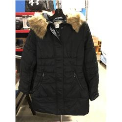 COSTA BLANCA LADIES FAUX FUR LINED COLLAR LONG WINTER JACKET NAVY BLUE SIZE L