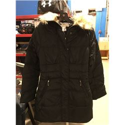 COSTA BLANCA LADIES FAUX FUR LINED COLLAR LONG WINTER JACKET BLACK SIZE M
